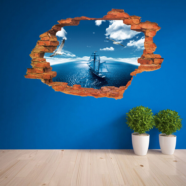 Blue Sky Sea Sailing Wall Stickers For Kids Bedroom