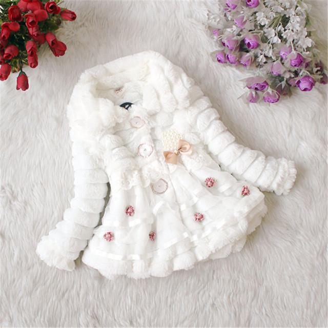 Chique Bebê Princesa Partido Das Meninas Jaqueta Casaco de Pele Do Falso Do Velo Inverno Quente 1-5Y Crianças Bebê Outwear