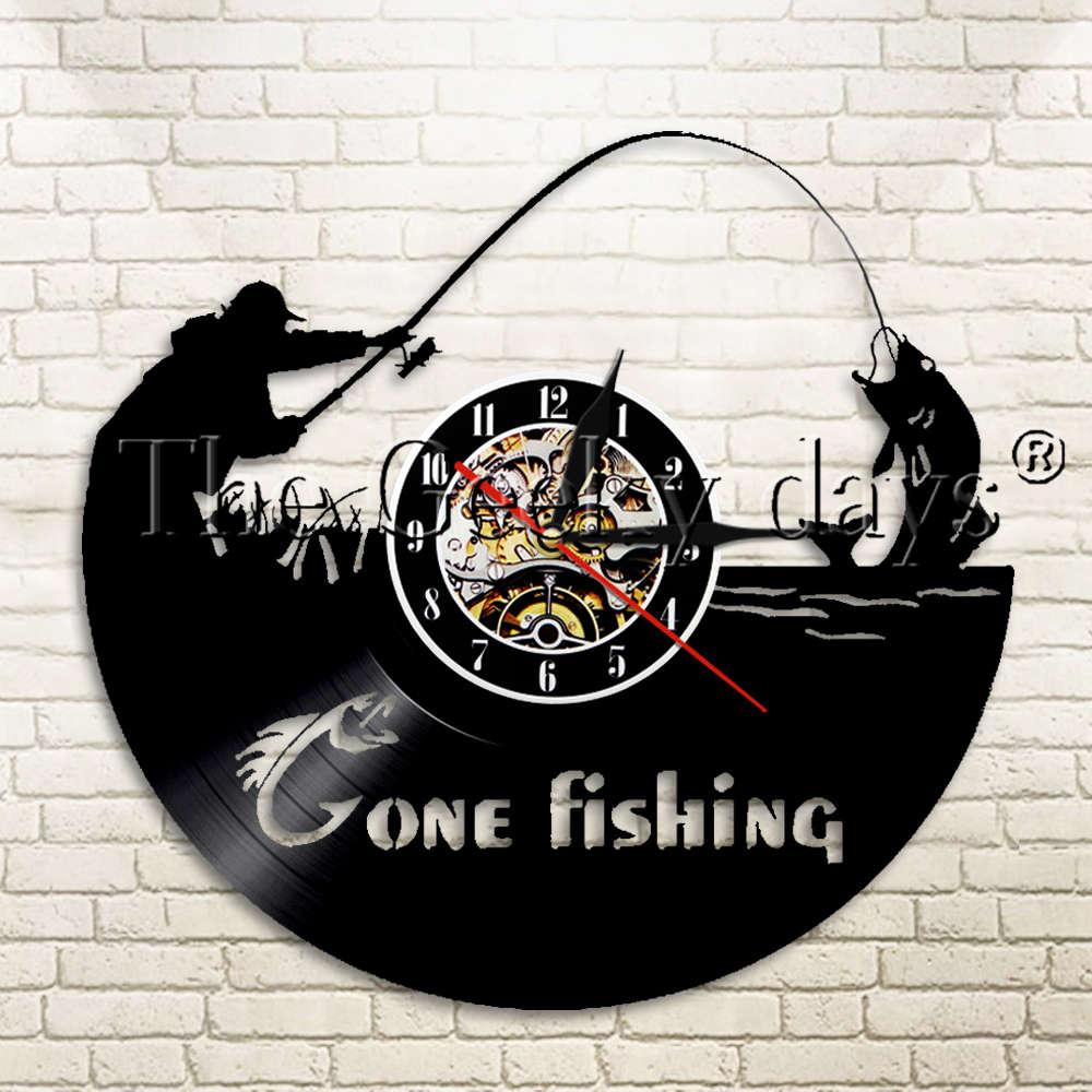 1Piece Gone Fishing Vinyl Record Wall Clock Fishing Tackle Fishing Rod Fisherman Wall Hanging Decor Silhouette Wall Clock