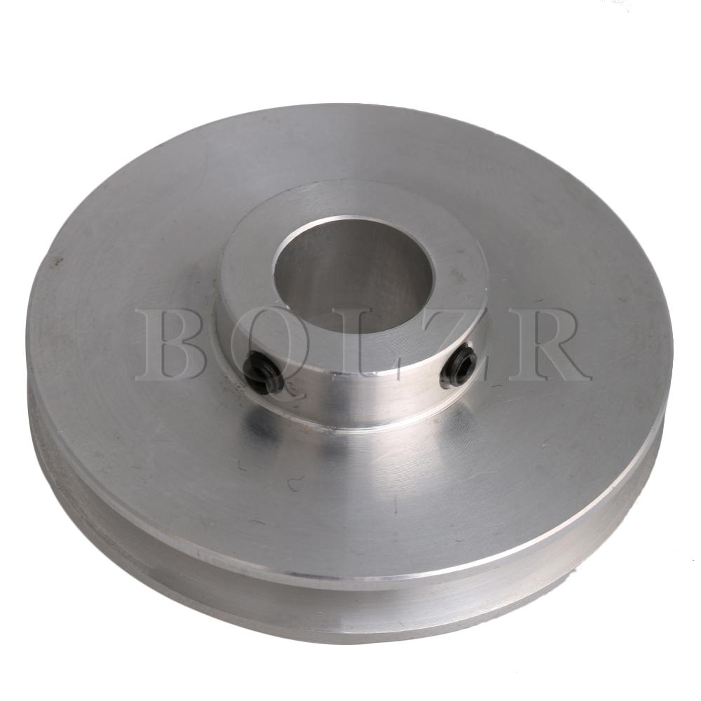 BQLZR 58x16x14MM Silver Aluminum Alloy Single Groove 14MM Fixed Bore Pulley For Drilling Machine 3-5MM PU Round Belt