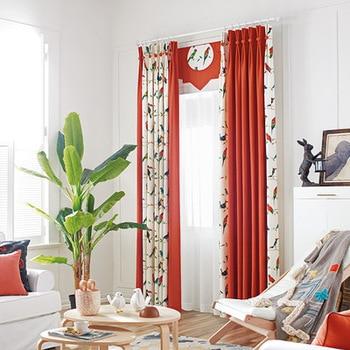 New cartoon bird mosaic cotton linen living room bedroom fabric curtain