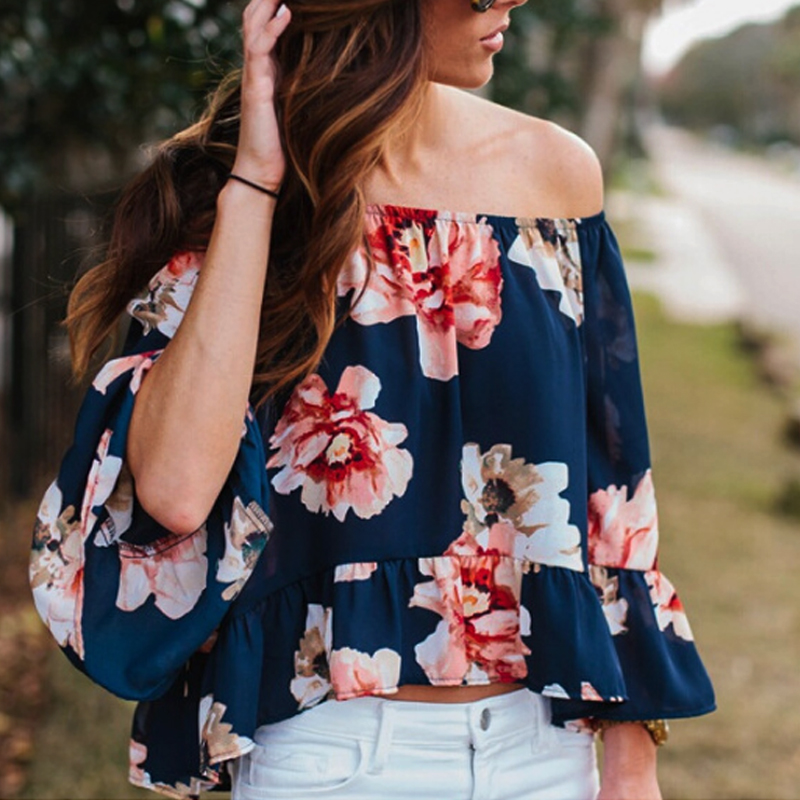 Women 39 s Off Shoulder Casual Floral Long Sleeve Shirt Blouse Loose Tops in Blouses amp Shirts from Women 39 s Clothing