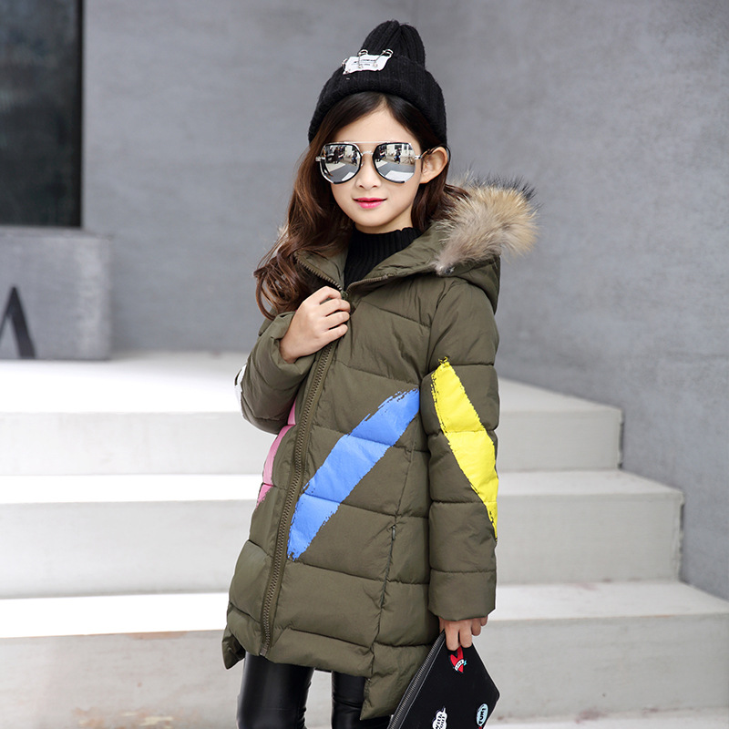 2018 Winter Jackets For Girls Green Hooded Fur Collar Parka Coat Kids Long Warm Outerwear Clothing 6 12 10 Year Girl Jacket Coat clothing mens winter jackets coat warm men s jacket casual outerwear business medium long coat men parka hooded plus size xxxl