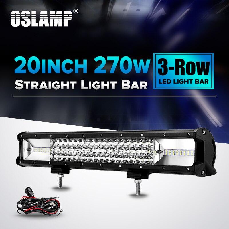 Oslamp 20 Тройной Ряд светодиодных чипов Combo луча свет бар для автомобиля 12 В 24 В 6000 К rzr внедорожник ATV пикап 3-строки, светодиодные дальнего свет...