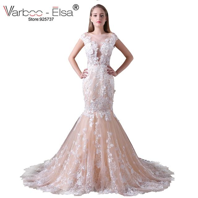 Varboo Elsa Vintage Hochzeit Kleid Champagner Spitze Meerjungfrau