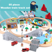 цена на 95PCS Magnetic Wooden Diecast Train Track Set And Station Bridge Accessories Railway Model Toy Vehicles Toys for Children
