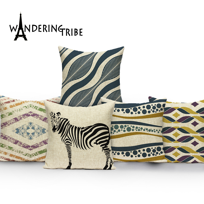 Square colorful Home Cushion Decorative soft seat car Covers linen geometry Diverse wave pure suit cushion zebra Cushion cover