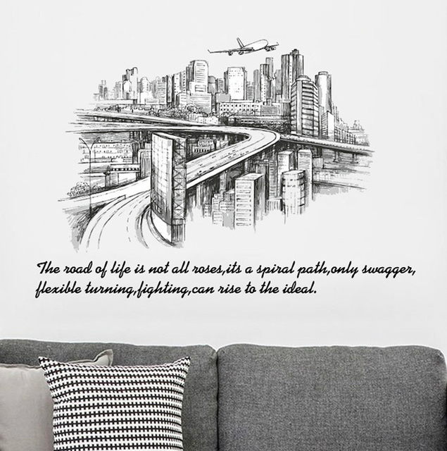 City Sketch Silhouette Landscape Large Wall Stickers Home Decor Living Room  Bedroom Art Mural Removable Wall Sticker Part 48