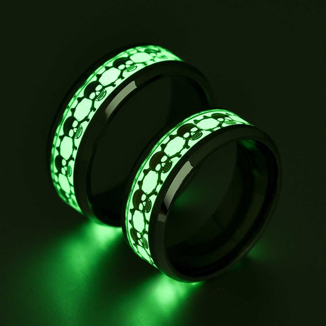 Пиратская голова призрака светящееся кольцо из нержавеющей стали кольцо индивидуальность оригинальные ювелирные изделия для женщин и мужчин кольцо на палец 8 мм