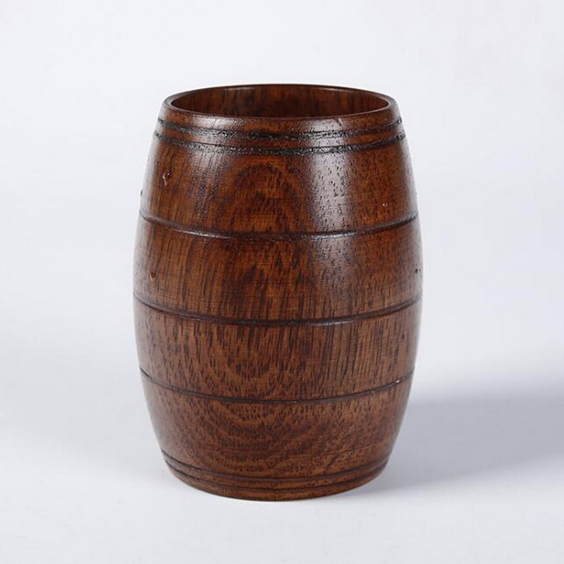 Us 861 13 Offhigh Quality Wooden Barrel Cup Personality Brown Japanese Ancient Big Wooden Beer Mug Cup In Mugs From Home Garden On