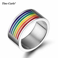 L'amore per Gay Rainbow Mezza Placcato Anello di Lucidatura Interno Anelli in Acciaio Inox Gay Pride Parata LGBT Anelli FORMATO 5 ~ 12 PR-1006