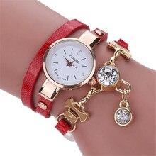 blue shope#3005 Fashion Women's Ladies Faux Leather Rhinestone Analog Quartz Dress Wrist Watches