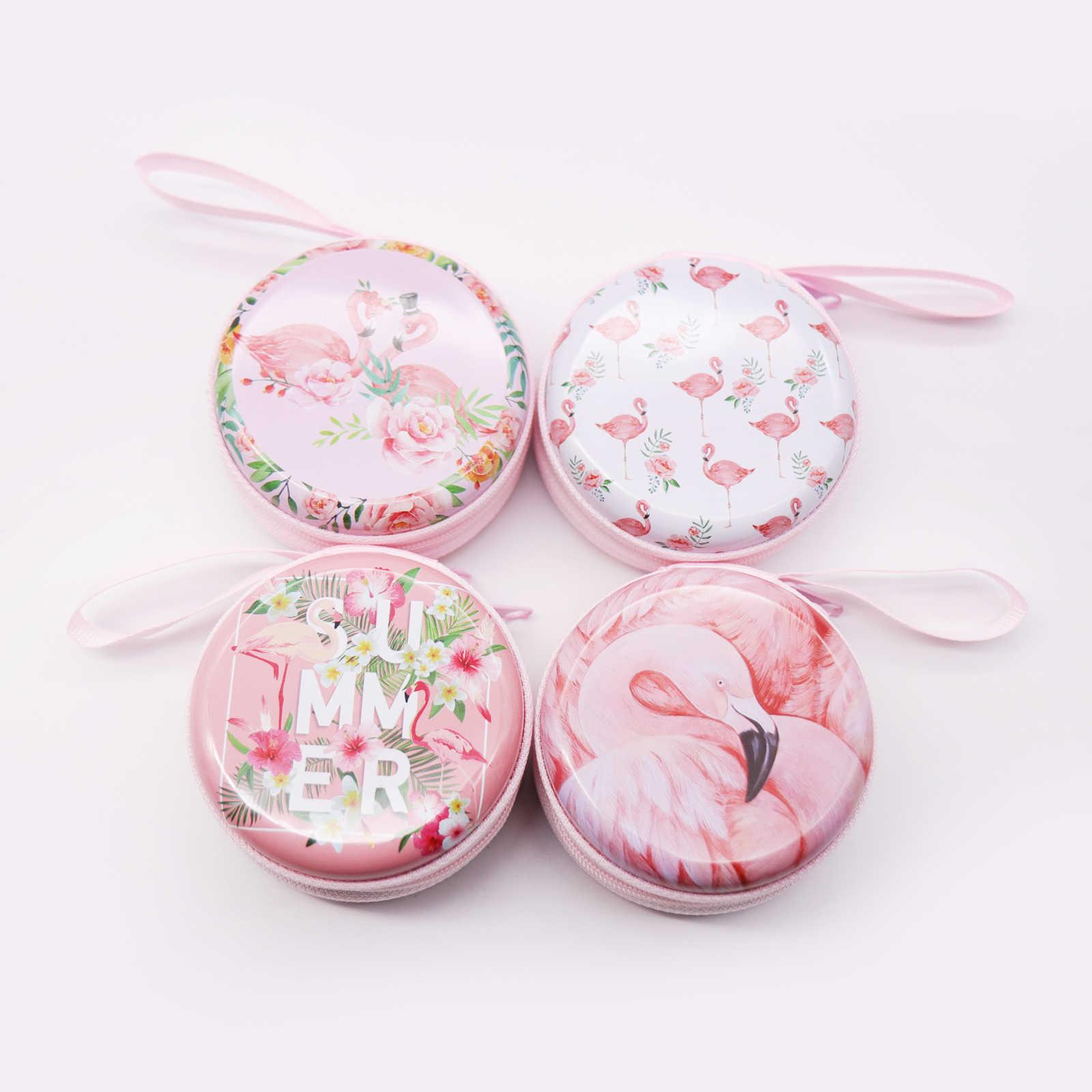 Bonito Dos Desenhos Animados Rodada Caixa de Presente de Chocolate Caixa de Doces Folha de Flandres Flamingo Para DIY Festa de Casamento de Natal Decoração Caixa de Armazenamento de Jóias