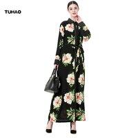 TUHAO Floral Dress Long Turn Down Collar Muslim Woman Print Robes Plus Size 5XL 6XL 7XL