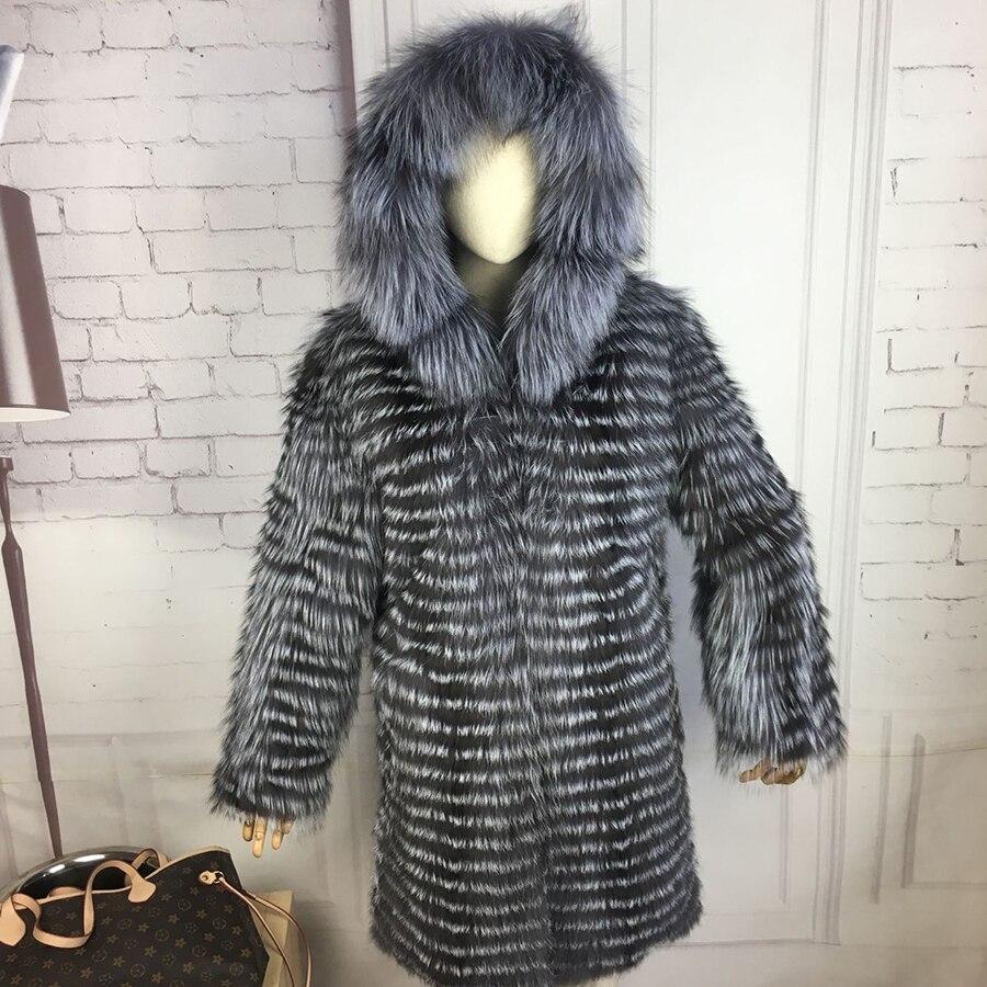 CNEGOVIK Nouvelle mode renard argenté manteau de fourrure avec capuche fourrure manteau silver fox manteau de fourrure véritable 90 cm longueur femmes rouge fourrure de renard veste
