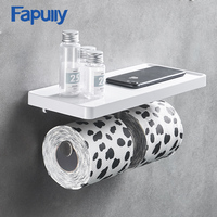 Fapully Wall Mounted Toilet Paper Holder Stainless Steel Double Hooks Rolls Stand Wall Holder Bathroom White ABS Shelf G163