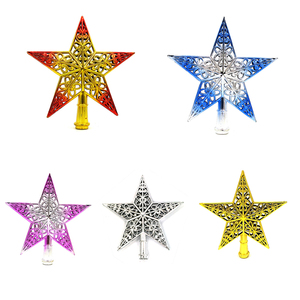 Image 3 - Cute Colorful Star Christmas Tree Top hollow five pointed stars Sparkle Hang Xmas Decoration Ornament Treetop Topper Dimensional