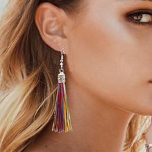 Fashion Tassel accessories European and American creative exaggerated long alloy braided earrings Bohemian ear ornaments 2019 real time limited aretes tassel earrings oorbellen european and american christmas jewelry lovely for apple long ear