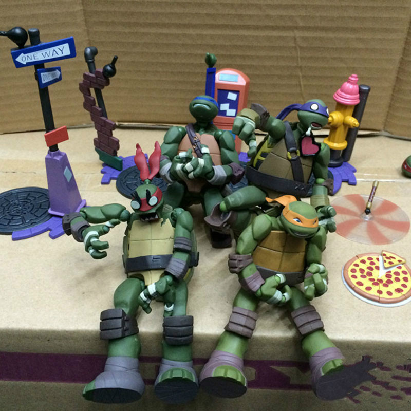 Cartoon Movie Yamaguchi Turtle Leonardo Raphael Michelangelo Donatello PVC Action Figures Collection Model doll toy