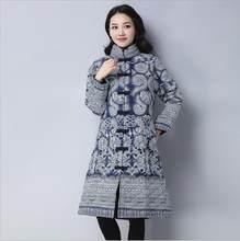 4fc3d1dc9 Inverno moda Chinês estilo folk retro azul branco cashmere casaco de  Algodão longa seção de Algodão-acolchoado roupas China Jaqu.