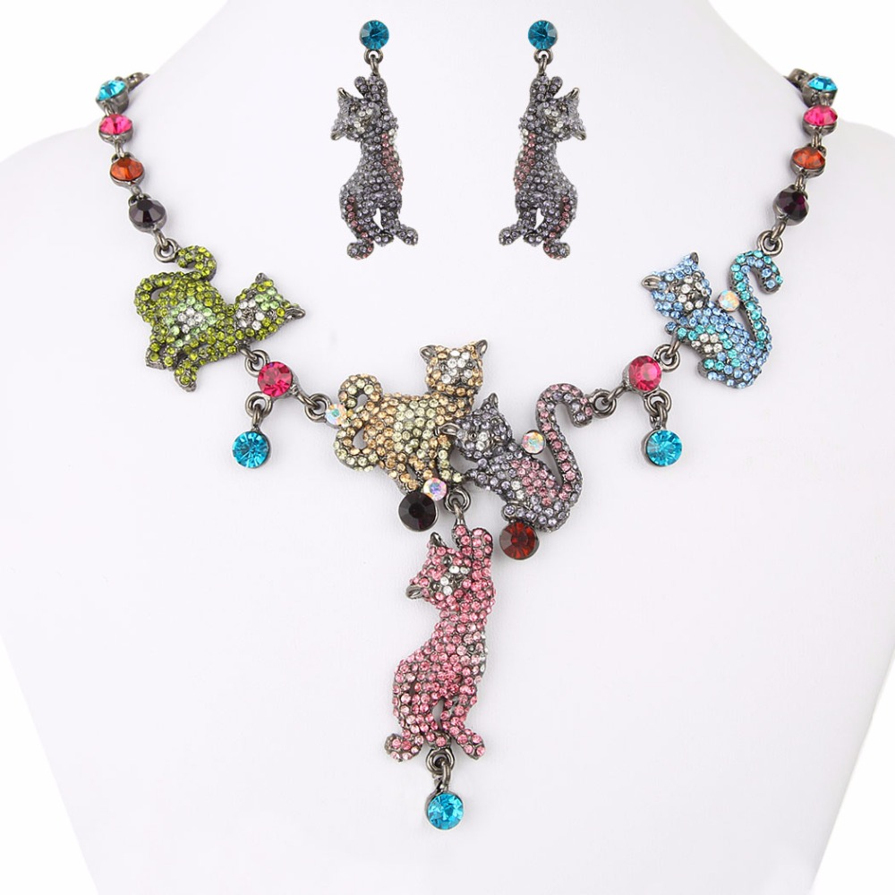 Bella Fashion Colorful Cat Family Animal Necklace Earrings Set Austrian Crystal Jewelry Sets For Women Party Jewelry Gift top quality fashion party custom jewelry for women colorful crystal earrings luxcy party earrings fine custom jewelry earrings