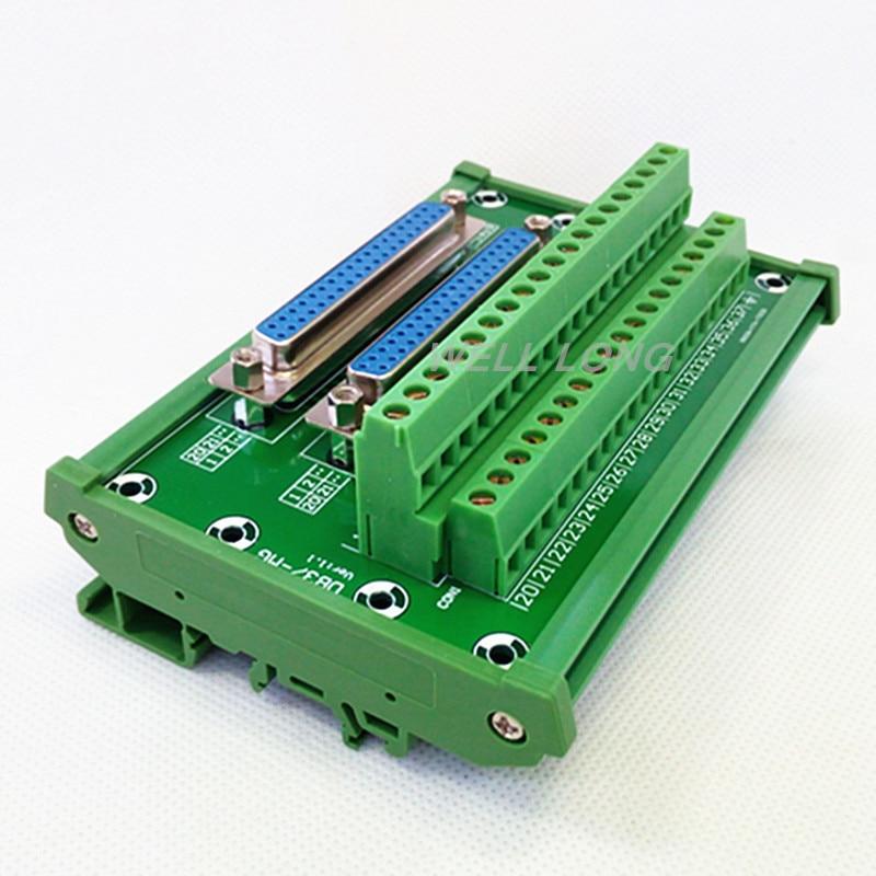 D-SUB DB37 DIN Rail Mount Interface Module, Double Female Header Breakout Board, Terminal Block, Connector.