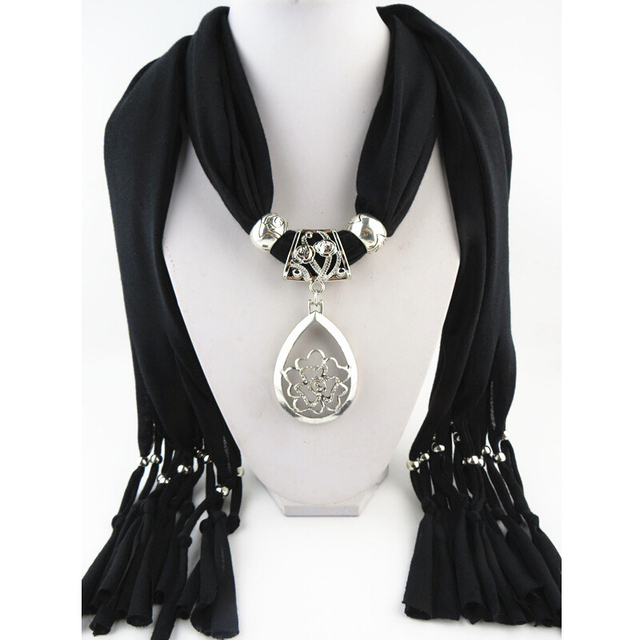 Fashion women black tassel floral jewelry pendant scarf necklace fashion women black tassel floral jewelry pendant scarf necklace lady cotton necklaces scarves wholesale aloadofball Choice Image