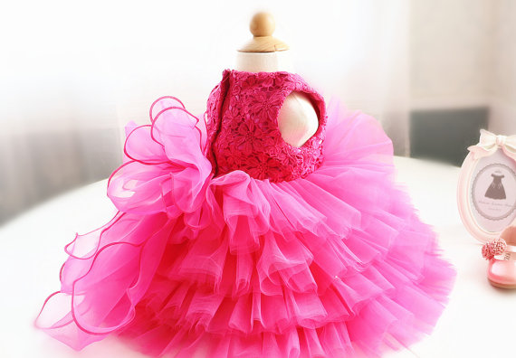 Hot Pink Lace Birthday Dress for Baby/Toddler/Infant tiered cake flower girls dress frocks glitz pageant dress