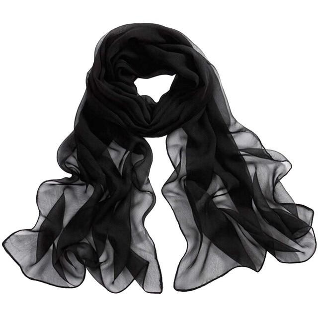 Chiffon Silk Scarf Women...