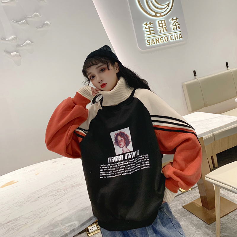 Velvet Printed Pullovers Leisure Sweatshirts for beatiful girls
