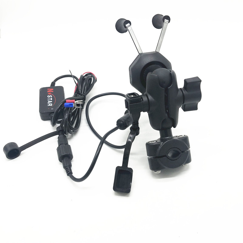 Motorcycle Motorbike Bicycle Rearview Mirror Mount with X Grip Phone Holder USB Charger for ram mount
