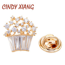 CINDY XIANG new arrival 2 colors choose cubic zirconia flower collar pins for women and men unisex small suit brooch kids gift