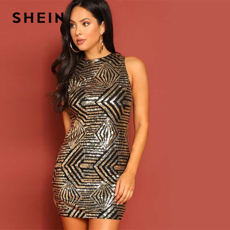 544e08b657 SHEIN Gold Geo Sequin Zipper Sleeveless Geometric Short Slim Bodycon Dress  Autumn Minimalist Women Solid Elegant
