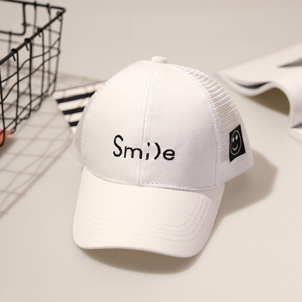 Cute Kids Child Smil Letter Embroidery Bongrace Hat Peak Baseball Cap Sunhat