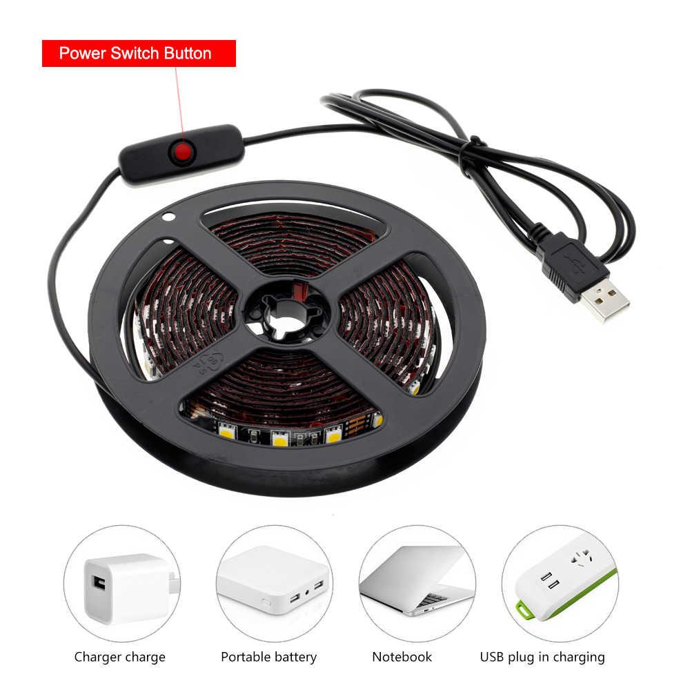 USB 5 В Светодиодная лента 5050 50 см 1 м 2 м 3 м 60 Светодиодный s/m USB блок питания с переключателем для DIY шкафа/спальни/освещение в ванной комнате.
