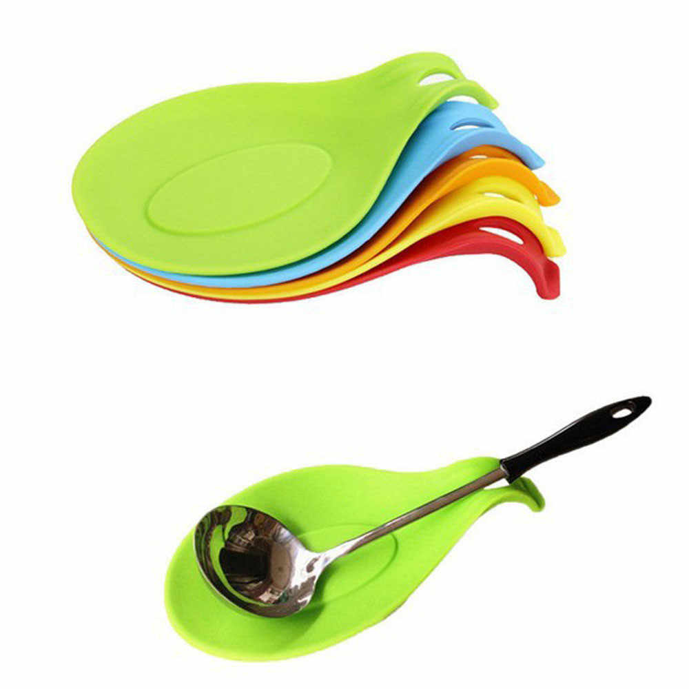 1PC Random Color Flexible Silicone Heat Resistant Spoon Fork Mat
