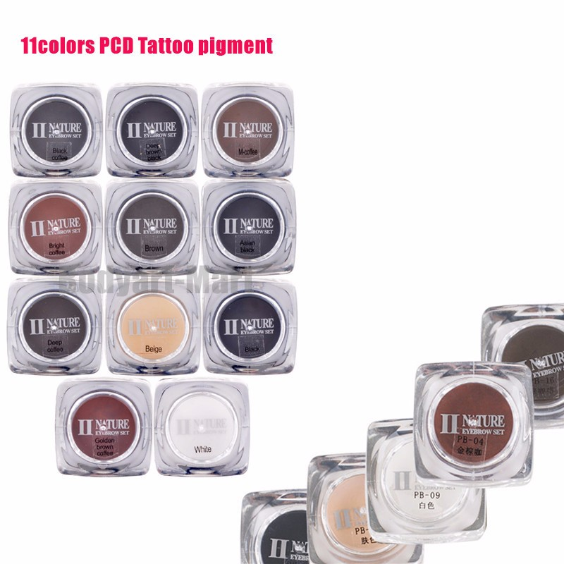 PCD Permanent Makeup Ink Eyebrow Tattoo Ink Set 5ML 11 Colors Lip Microblading Pigment Professional Encre