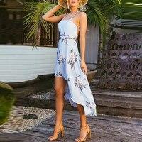 Lily Rosie Girl Halter Strapless Sexy Dresses Floral Print Summer Dress Women 2018 Backless Blue Boho