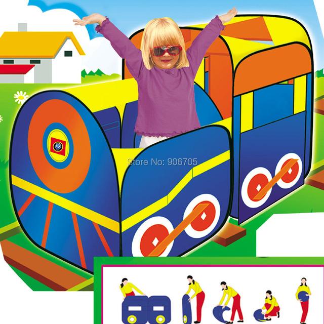 Tienda del juego Hut interior exterior - tren lindo para niños muchachas de los muchachos, Pop up tienda del juguete con PVC bolsa Play House exterior y tienda de campaña cubierta