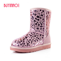 2016 Luxury Designer Sequined Winter Boots Brand Women Knee High Boots Genuine Leather Snow Boots Plush