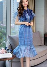 купить High Qualitry 2018 New Fashion Retro Plaid Print Slim Ruffles Chiffon Dress Women Runway Short Sleeve Trumpet Summer dress по цене 1466.42 рублей