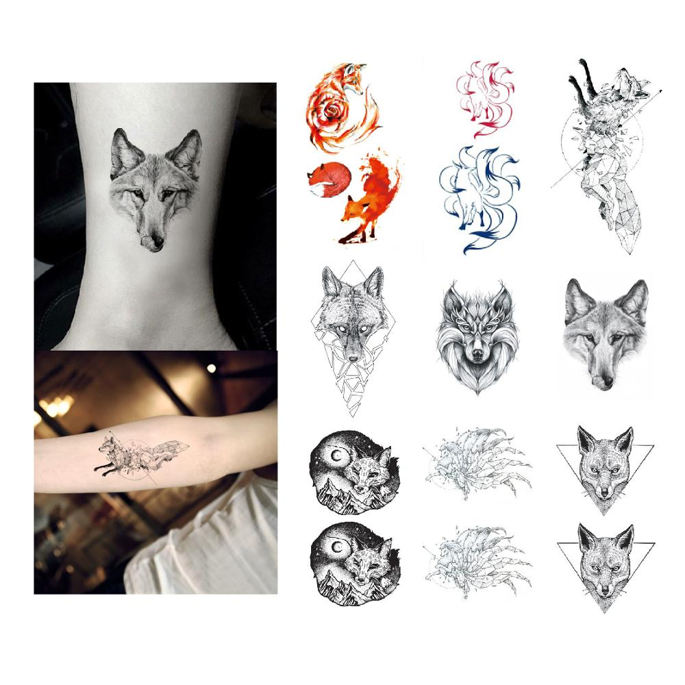 Fox Tattoo Sticker Waterproof Temporary Fake Tatoo Animals Sexy Geometry Arm Hand Shoulder Men Women Teens Body Art 10.5X6cm