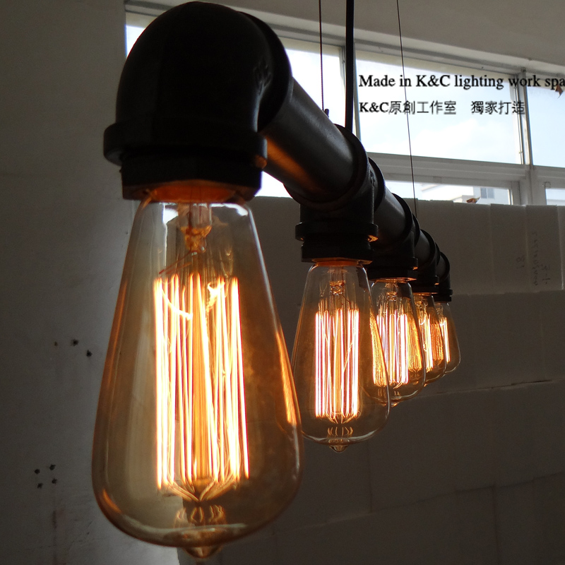 Loft industrial light cafe retro droplight creative personality Edison hoses droplight Edison silk light bulb chandelier retro cafe bar long spider lamp loft light industrial creative office the heavenly maids scatter blossoms chandelier
