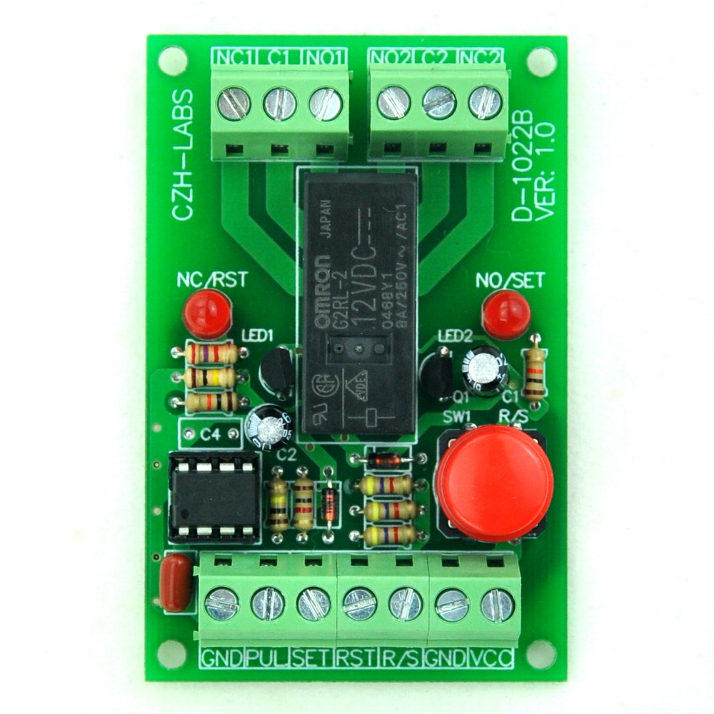 Panel Mount Momentary-Switch/Pulse-Signal Control Latching DPDT Relay Module,12V
