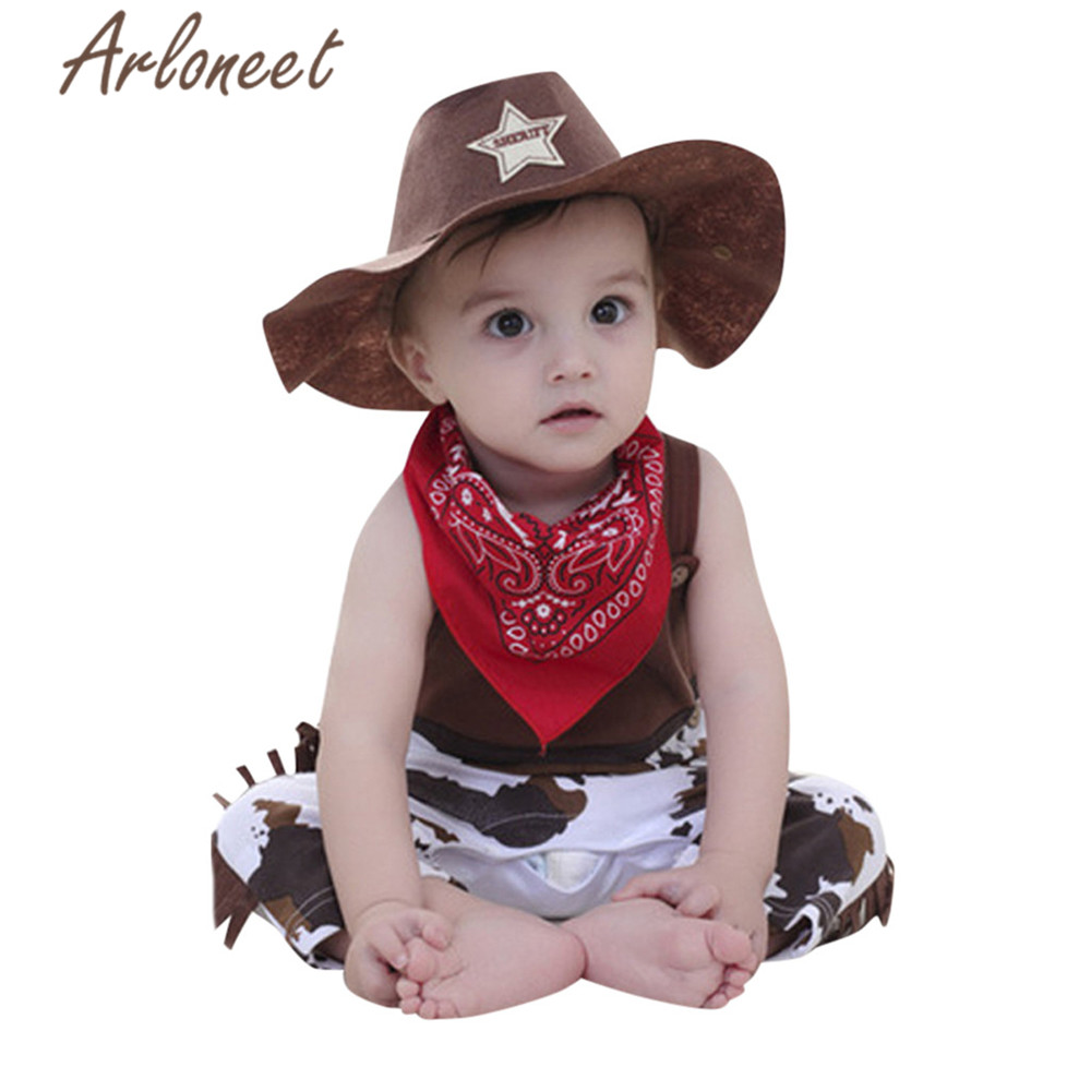 ARLONEET Clothes Baby Boy Romper Jumpsuit Cowboy Hat Scarf Disguise Baby Carnival 3pcs Costume Kids 2019 Girls Summer Outfits