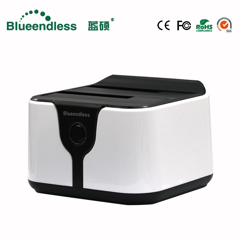 "Clone SATA a USB 3.0 HDD Dock Station HDD Box 2.5 / 3.5 ""Custodia HDD esterna USB3.0 HDD 2 bay plastica esterna hard disk ssd box"