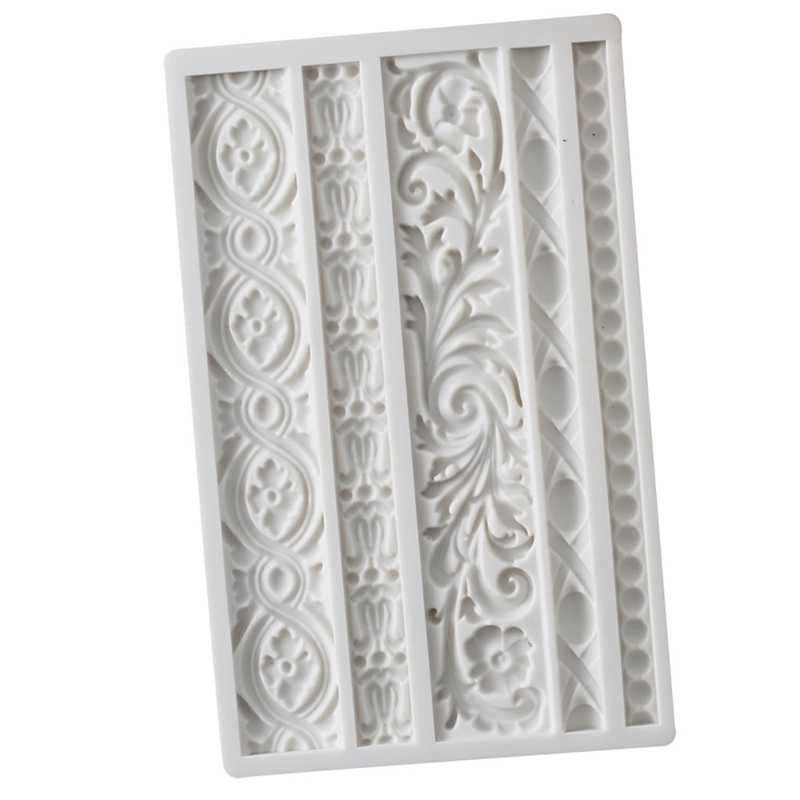 Diy Baroque Scroll Relief Cake Border Silicone Mold Frame Fondant Cake Decorating Tools Candy Chocolate Mould