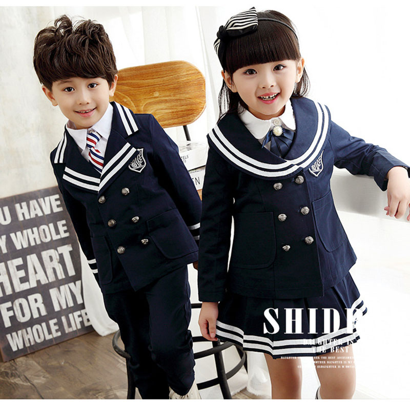 Children'suniforms England Korean Boys And Girls Uniforms Autumn And Winter Suits Primary And Secondary School Costumes Two Sets