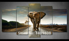 5 Panel Elefanten Malerei Wandkunst Bild Home Decoration Wohnzimmer Drucken Malerei Moderne Leinwand Gerahmte Kunst jj463