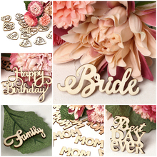 15pcs/lot Fashion Vintage Wooden Birde Groom Love Family Letters Crafts DIY Home Ornaments Wedding Party Decorative Supplies